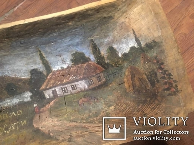 Корыто деревянное старинное с росписью Хата и пейзаж, фото №12