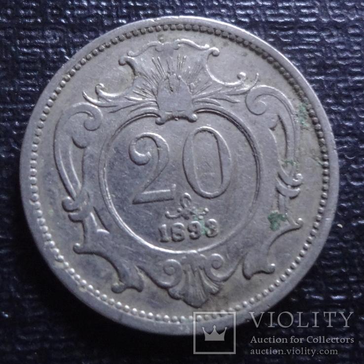 20 геллеров 1893 Австро-Венгрия   (3.2.26)~, фото №2