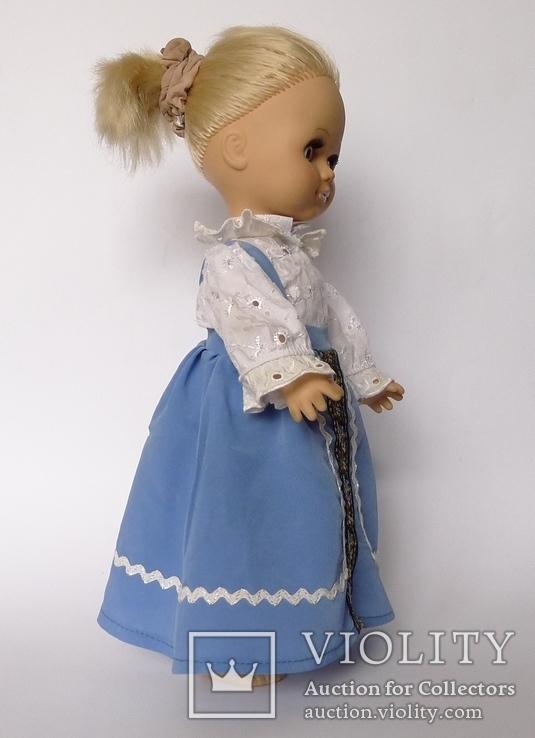 Кукла блондинка в голубом платье с вышивкой., фото №6