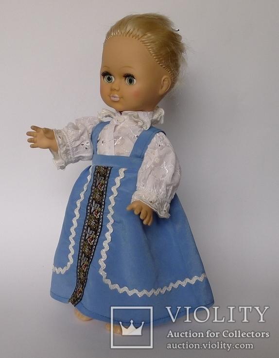 Кукла блондинка в голубом платье с вышивкой., фото №12