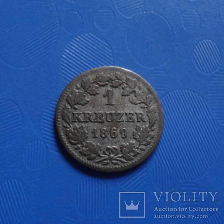 1 крейцер 1869 Бавария  серебро   (Х.3.1)~, фото №4