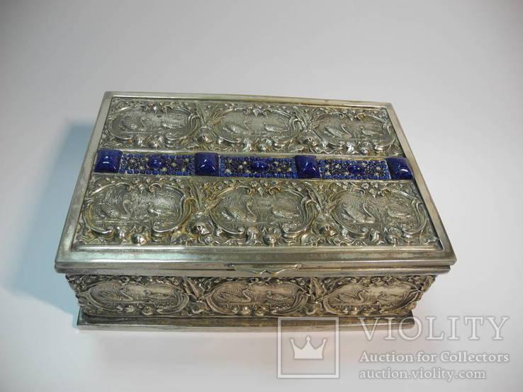 Шкатулка для украшений сюжетная ( бронза , серебрение , детализация ) Европа, фото №3
