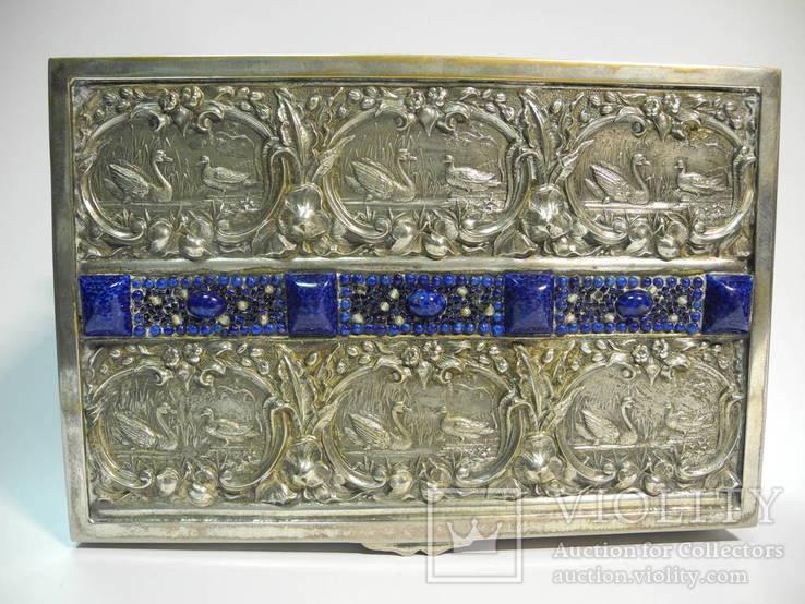 Шкатулка для украшений сюжетная ( бронза , серебрение , детализация ) Европа, фото №6