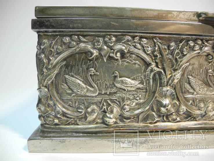 Шкатулка для украшений сюжетная ( бронза , серебрение , детализация ) Европа, фото №7