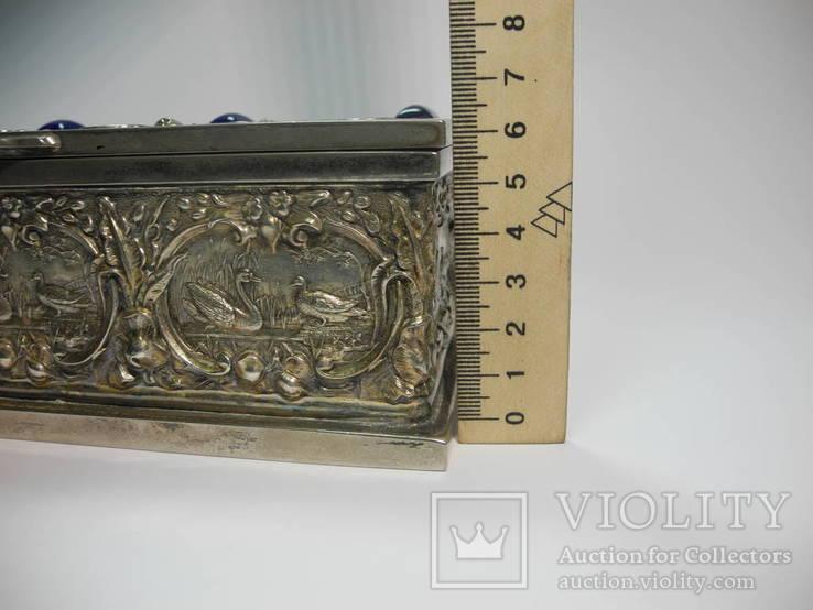 Шкатулка для украшений сюжетная ( бронза , серебрение , детализация ) Европа, фото №10