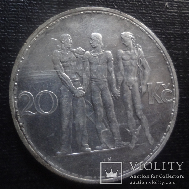 20 крон 1934 Чехословакия  серебро  (К.33.2)~, фото №3