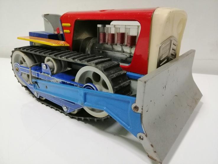 Бульдозер трактор из жести раритетная игрушка