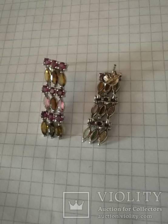 Серьги с натуральными цветными турмалины и и гранатами родолитами, фото №2