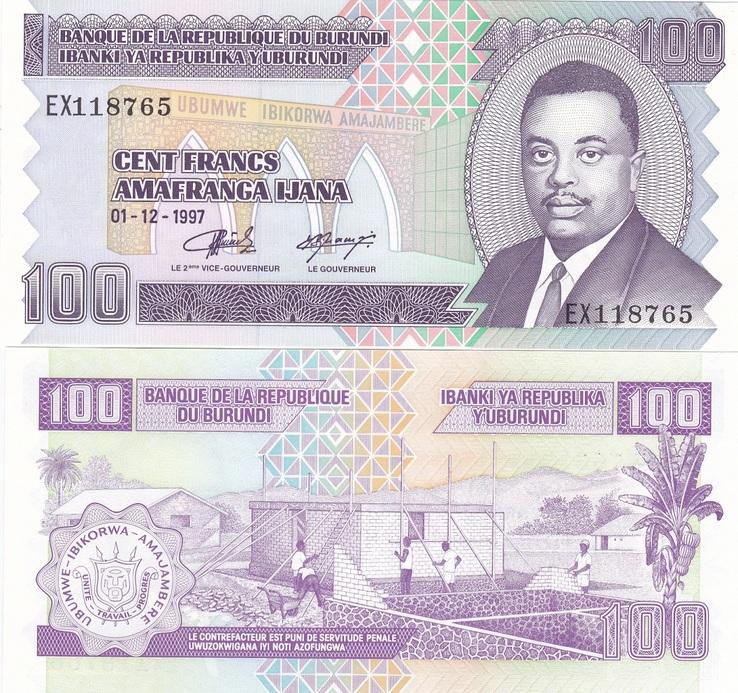 Burundi Бурунди - 100 Francs 1997 UNC JavirNV