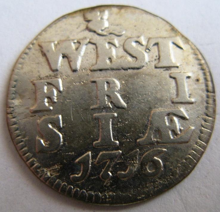Нидерланды, WEST FRISLAND, 2 серебряных стюйвера 1716