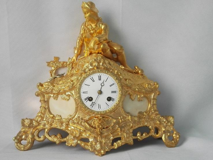 Бронзовые часы с клеймами в оригинальной позолоте XIX века