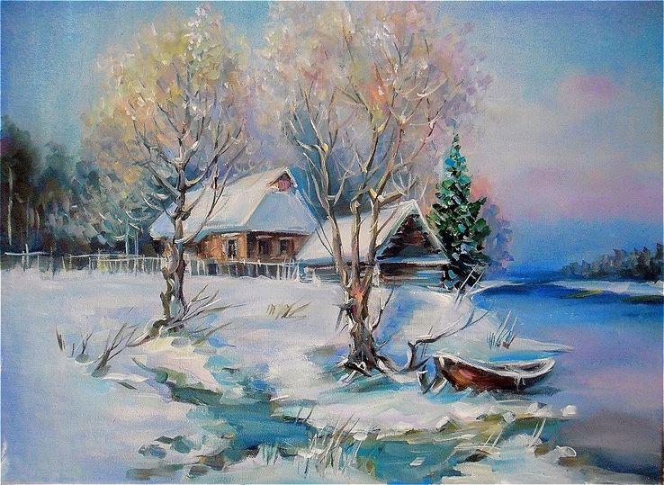 """""""Зима. Домик у реки"""" 35 * 45 масло холст на подрамнике"""