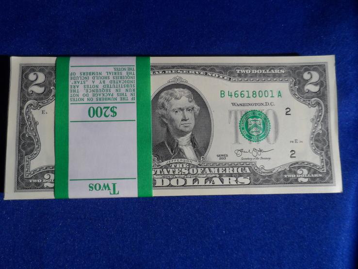 2 доллара США 2013 г UNC 100 банкнот номера подряд штат NEW YORK