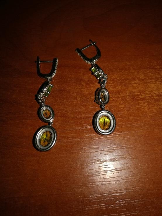 Серьги с натуральными хризолитами, фото №3