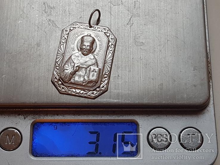 Иконка нательная. Св. Николай. Серебро 925 проба., фото №2