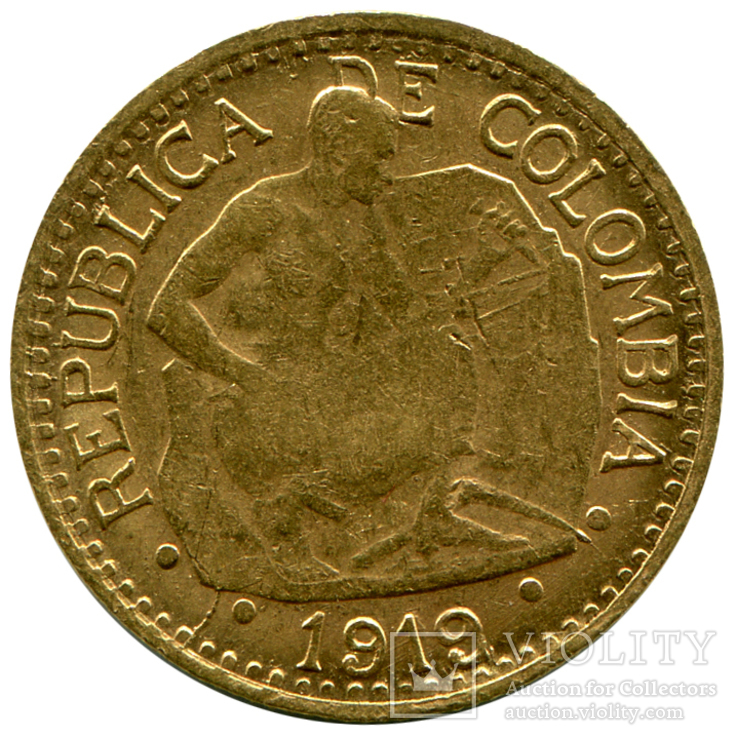 5 Песо 1919г. Колумбия