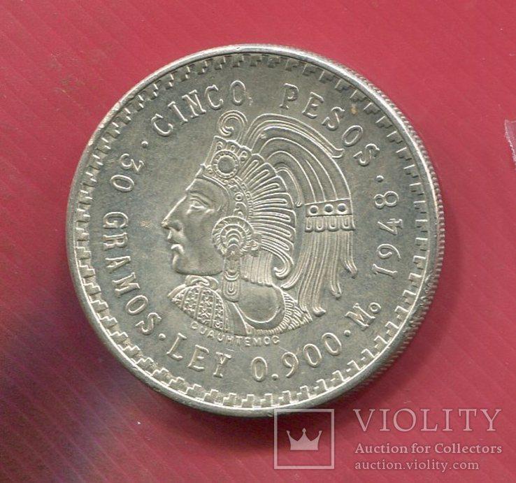Мексика 5 песо 1948 aUNC Индеец, фото №2