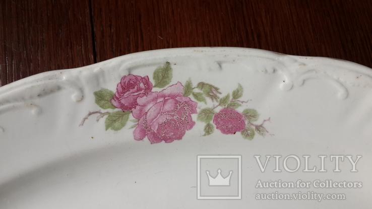 Красивое блюдо с розами 1920х годов Буды, фото №10