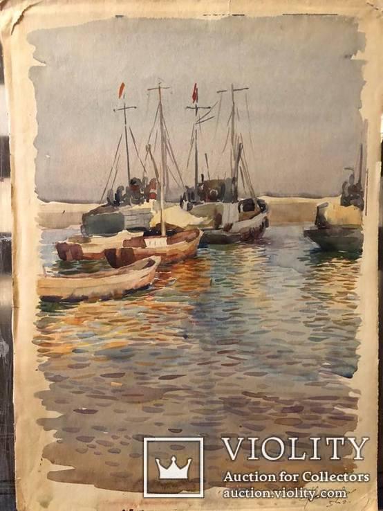 Рыбацкие шхуны,акварель,бумага,1956,автор-засл деятель искусств Украины В.Новиковский