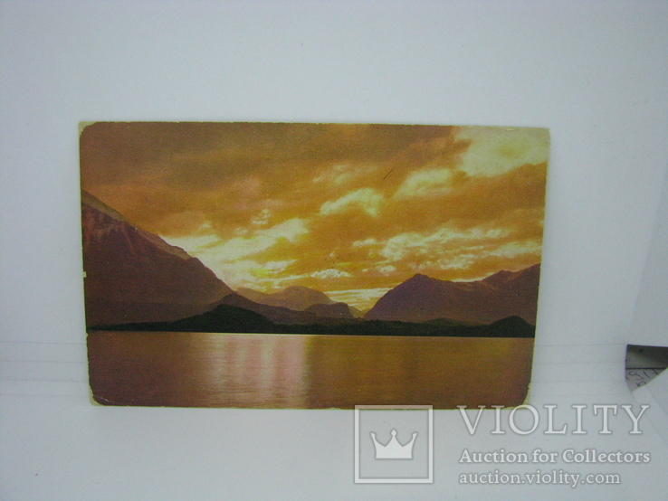 Открытка Закат солнца. Горы. море. чистая, фото №2