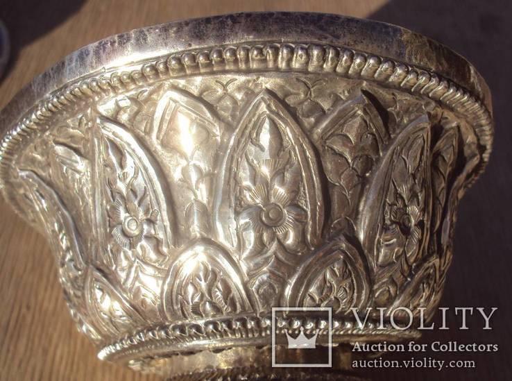 Ритуальный кубок с крышкой, серебро. Тибет, 19 век., фото №9