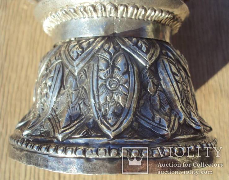 Ритуальный кубок с крышкой, серебро. Тибет, 19 век., фото №10