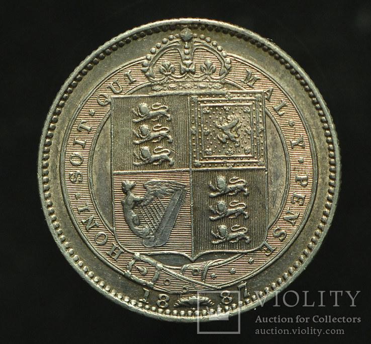 Великобритания шиллинг 1887 Unc серебро