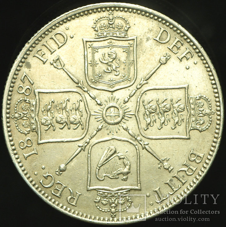 Великобритания флорин 1887 аUnc серебро