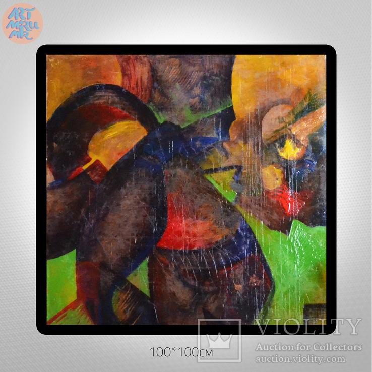 #55.4 100*100sm Яркая Большая Интерьерная Картина Абстракция Экспрессионизм + ART Подарок