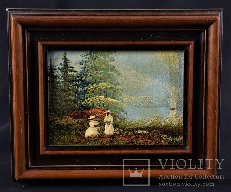 Картина. Масло, дерево. Подпись автора. Европа