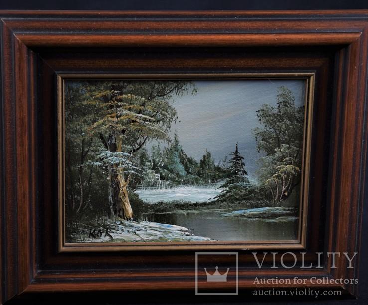 Картина. Масло, дерево. Подпись автора Голландия Сертификат
