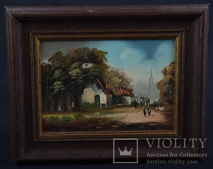 Картина. Масло, дерево. Подпись автора. Голландия