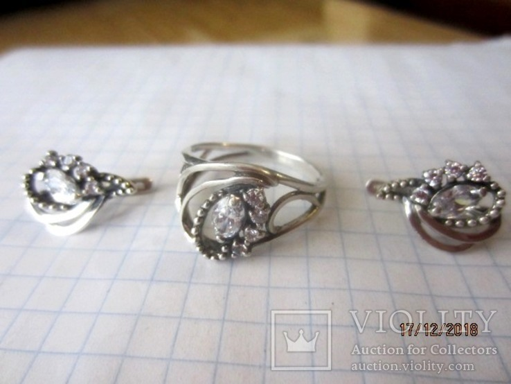 Кольцо и серьги серебро 925 цирконий