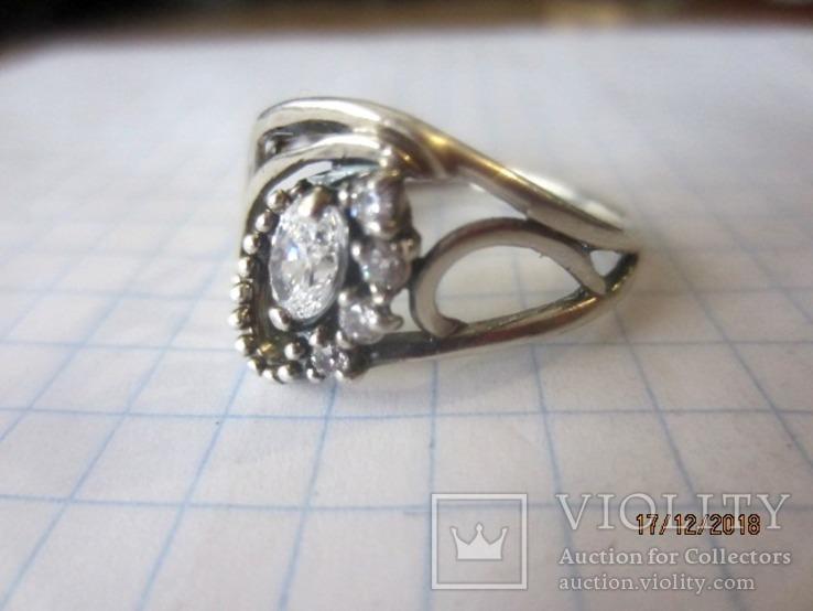 Кольцо и серьги серебро 925 цирконий, фото №7
