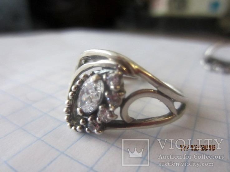 Кольцо и серьги серебро 925 цирконий, фото №8