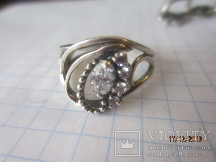 Кольцо и серьги серебро 925 цирконий, фото №9