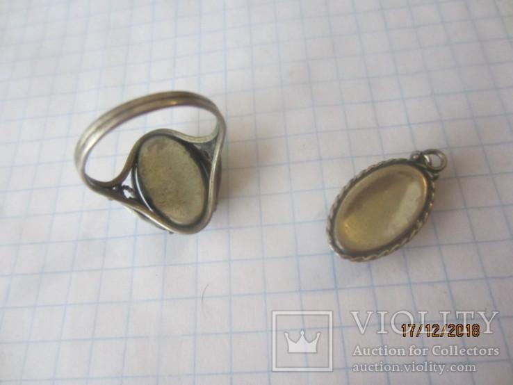 Кольцо и кулон мельхиор финифть, фото №7