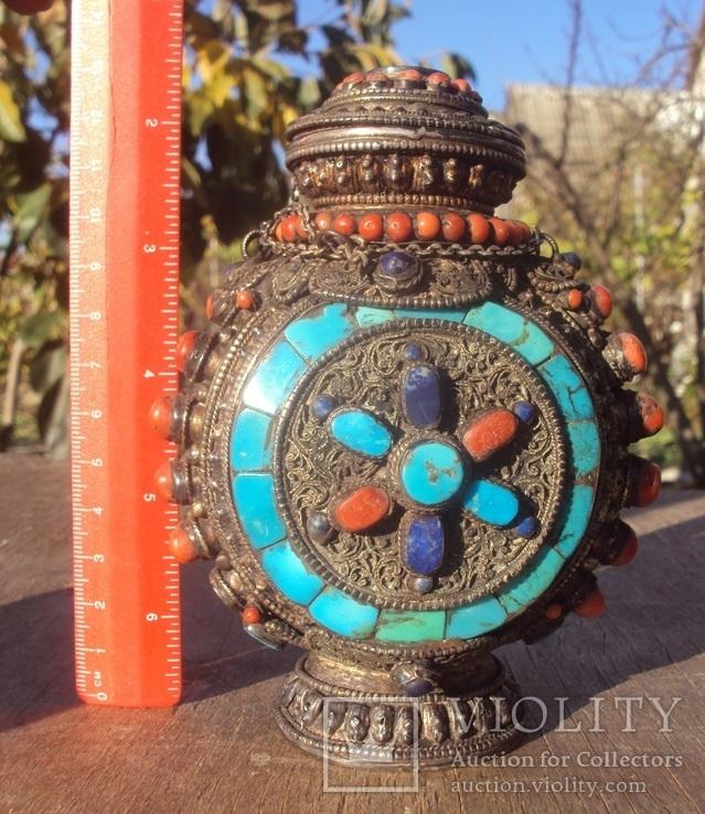 Серебряная бутылка с кораллом и лазуритом., фото №3