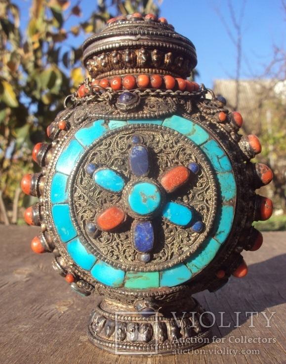 Серебряная бутылка с кораллом и лазуритом., фото №4