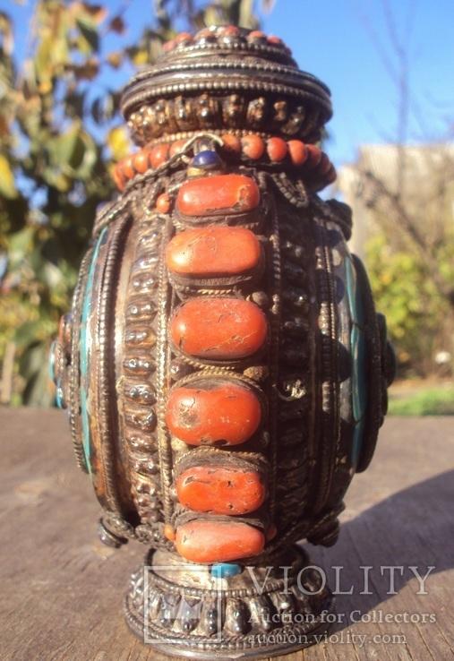 Серебряная бутылка с кораллом и лазуритом., фото №5