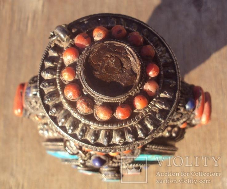Серебряная бутылка с кораллом и лазуритом., фото №9