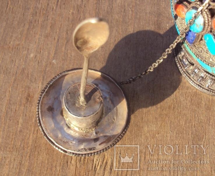 Серебряная бутылка с кораллом и лазуритом., фото №11