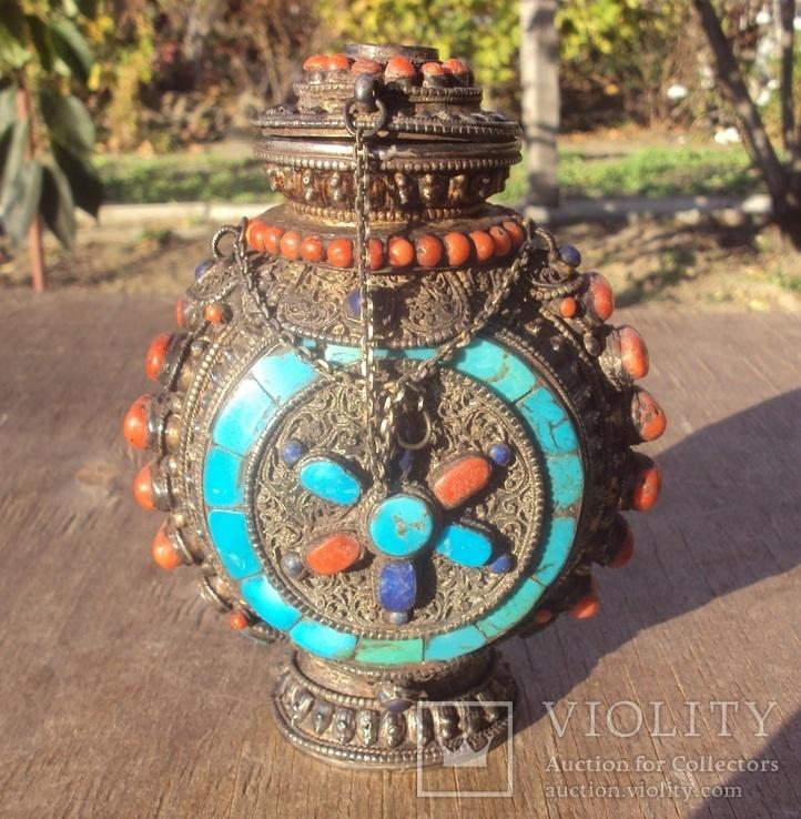 Серебряная бутылка с кораллом и лазуритом., фото №13
