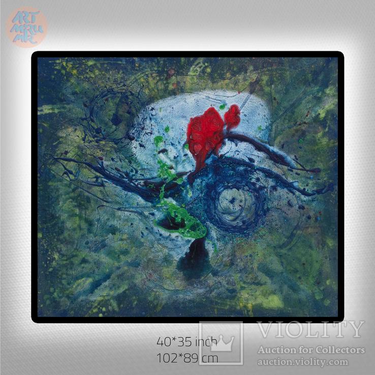 #79 102*89sm Яркая Большая Интерьерная Картина Луна Вселенная Абстракция Экспрессионизм