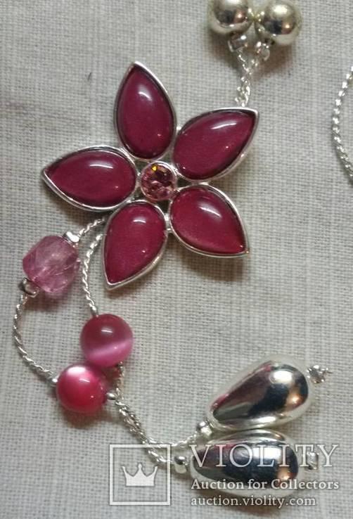 Колье с красными цветочками, фото №4