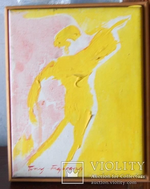 """Холст, масло, 20 век """"Девушка в желтом"""", фото №2"""
