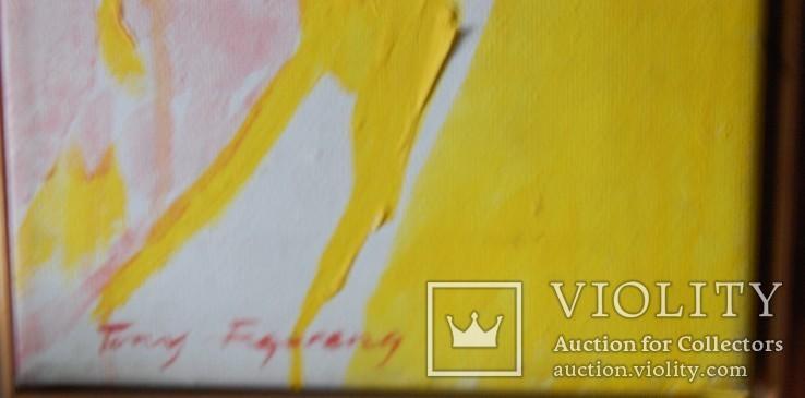 """Холст, масло, 20 век """"Девушка в желтом"""", фото №3"""