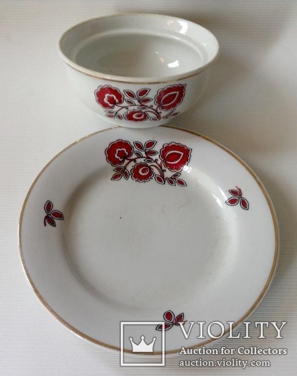 Сервиз Красный цветок. Фарфор, Тернополь., фото №3