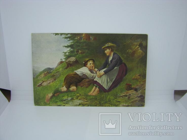 Открытка Мальчик и Девочка на опушке леса. Дети, фото №2