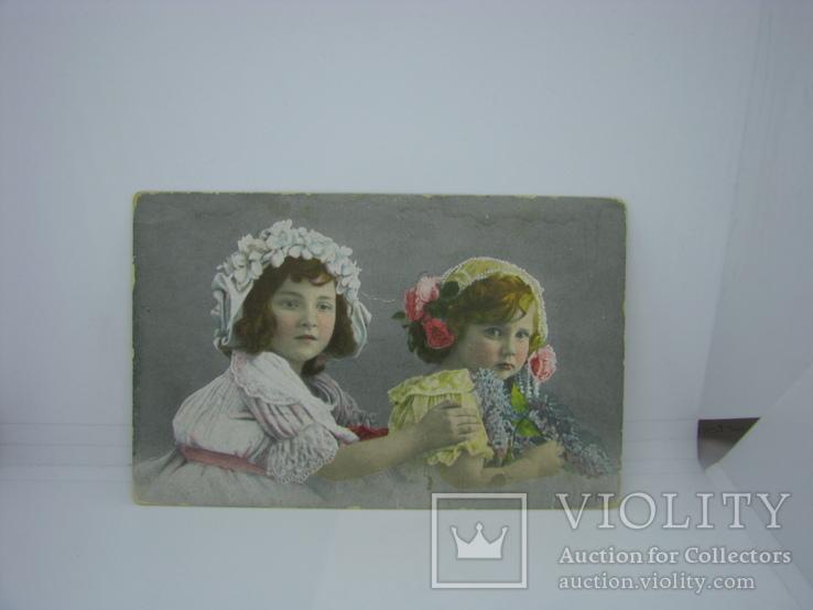 Открытка Девочки с цветами., фото №2
